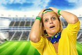 Brazilian fan desperate in a statium — Stock Photo