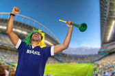 Brazilian fan celebrating at stadium — Stock Photo