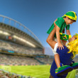 Brazilian fan screaming at stadium — Stock Photo