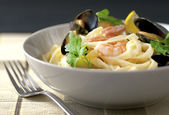 Seafood tagliatelle — Stock Photo