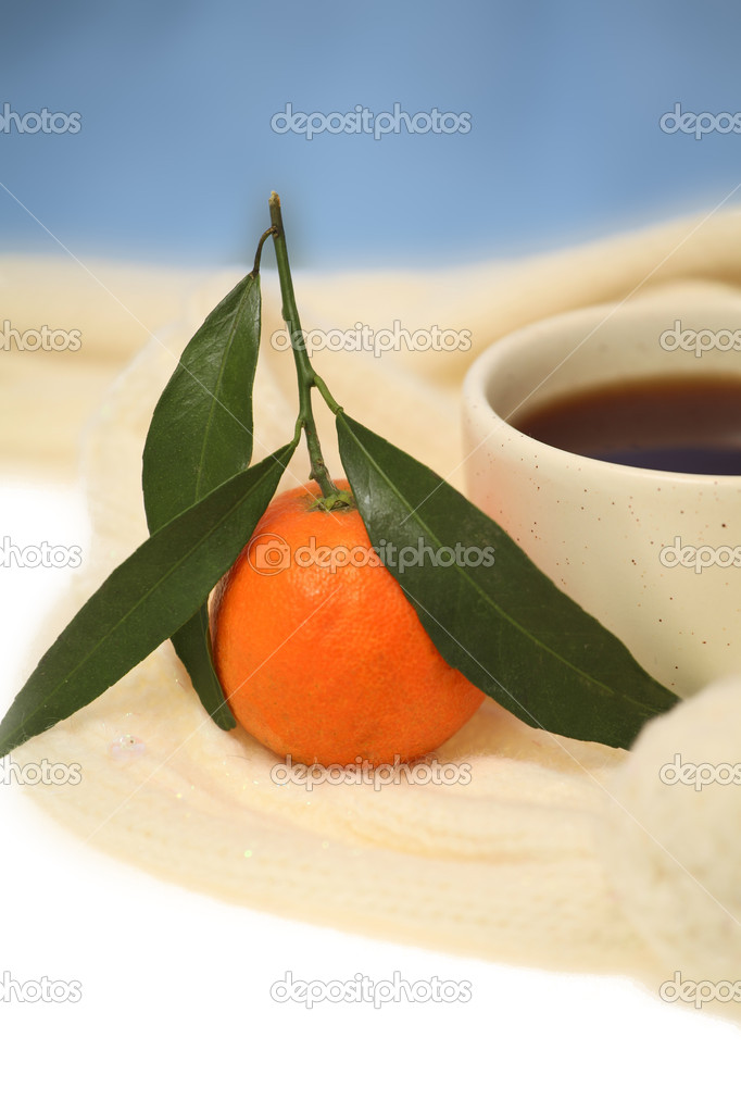 Tangerine and teacup in a woolen scarf on a blue background  Stock Photo #16644523
