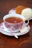 Tea with rum cake — Stock Photo