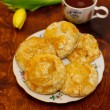 Meat pies with tea — Stock Photo