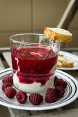 Dessert organic yogurt with raspberry jelly and french baguette — Stock Photo