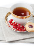 Tea served for two people on linen napkin on white background — Foto Stock
