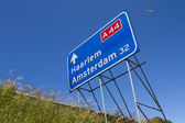 Highway traffic sign with aircraft — Stock Photo