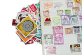 Stamps with stamp album — Stock Photo