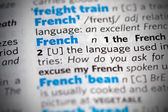 The word French in dictionary — Stok fotoğraf