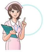 Young nurse pointing the index finger up, guiding information, with a clipboard, isolated on white back ground — ストック写真