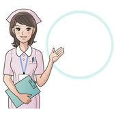 Ung söt sjuksköterska ge information, vägledning. cartoon sjuksköterska. sjukhus — Stockfoto