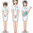 图库矢量图片: Set of young cute nurse welcoming patients, guiding information.