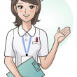 Stock Vector: Young pretty nurse providing information, guidance. Cartoon nurse. Hospital.