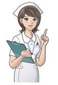 Giovane infermiera che punta il dito indice su, guida informazioni — Vettoriale Stock