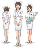 Conjunto de jovem enfermeira cute acolher pacientes, orientando a informação. — Vetorial Stock