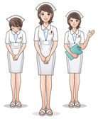 Set of young cute nurse welcoming patients, guiding information. — Stockvector