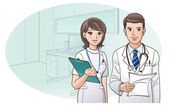 Smiling Confident Doctor and Nurse on the background of doctor's office. Cartoon Nurse. Cartoon doctor. — Stok Vektör
