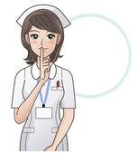 Female nurse asking for silence, ordering silence — Stock Vector