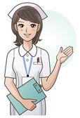 Joven bonita a enfermera proporcionando información, orientación. enfermera de dibujos animados. hospital — Vector de stock