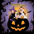 Halloween children wearing costume on the huge jack-o-lantern with greeting title — Stock Vector