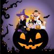 Vector de stock : Halloween children wearing costume on huge jack-o-lantern