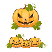 Halloween pumpkin, set of Jack-o-lantern on white background — Stock Vector