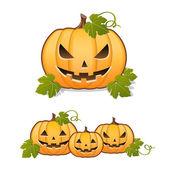 Halloween pumpkin, set of Jack-o-lantern on white background — Stock Vector
