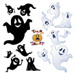 图库矢量图片: Set of Halloween Ghost, Halloween night