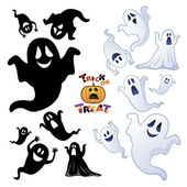 Uppsättning av halloween ghost, halloween kväll. — Stockvektor