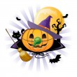 Halloween pumpkin Jack o lantern in halloween wich costume — Stockvectorbeeld