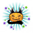 Halloween pumpkin in black cat costume. Jack o lantern. — Image vectorielle