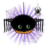 Halloween pumpkin Jack o lantern in spider costume — Stock Vector