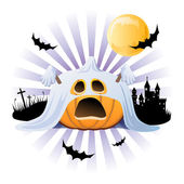 Halloween pumpkin Jack o lantern in halloween ghost costume — Stockvector