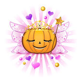 Halloween pumpkin Jack o lantern in FairyPrincess costume — Stockvector