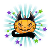 Halloween pumpkin in black cat costume. Jack o lantern. — Stockvector