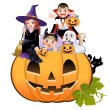 Stock Vector: Halloween children wearing costume on huge jack-o-lantern, white background