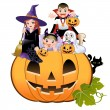 Halloween children wearing costume on huge jack-o-lantern, white background — Stock Vector