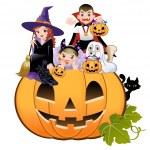 Halloween children wearing costume on huge jack-o-lantern, white background — Stock Vector