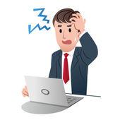 Empresário frustrado, segurando sua cabeça com a mão esquerda — Vetorial Stock