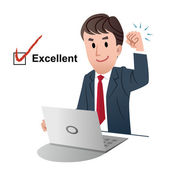 Successful businessman, raising fist up in air, with tick mark on a check box of Excellent — Vector de stock