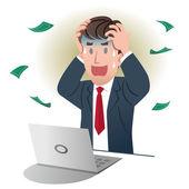 Uomo d'affari scioccanti tenendo testa su sfondo bianco. — Vettoriale Stock
