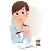 Ponytail young business woman holding a pen while planning something. — Vector de stock