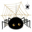 Cartoon spider looking up a tarantula on  cobweb — Stock Vector