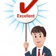 Thumb up businessman with a excellent score board with ticked ma — Stock Vector #13364546