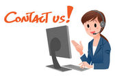 Contact us! Customer service representative at computer — Stock Vector