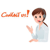 Contact us! Customer service woman smiling in headset with space — Vector de stock