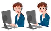 Set di donna di servizio cliente carina sorridente in tuta — Vettoriale Stock