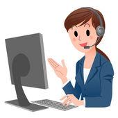 Customer service representative en computadora en auriculares — Vector de stock
