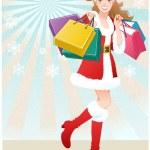 Santa Girl holding paper bags.Christmas shopping — Stock Vector