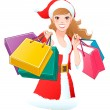 Vector de stock : Close-up SantGirl shopping Christmas gifts