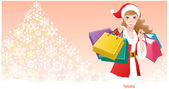 Santa Girl with shopping bags on snowflakes tree — Vector de stock